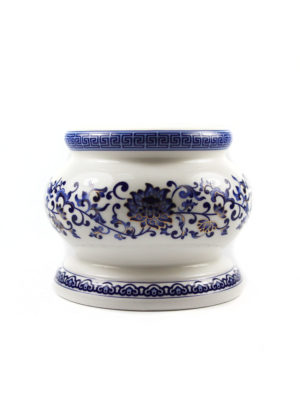 Blue Lotus Porcelain Incense Burner 1