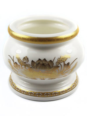 Gold Lotus Porcelain Incense Burner (Medium) 2