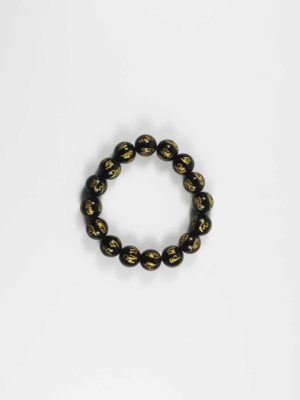 Black Agate with Six-syllables Mantra Bracelet (12mm) 1