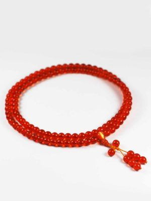 Colour-glazed Orange Glass Mala 108 Beads 2