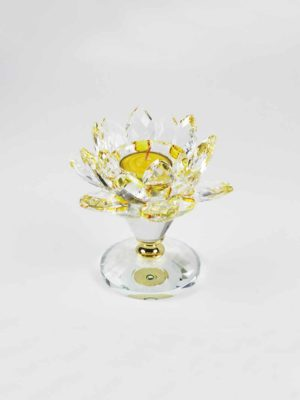 Yellow Crystal Lotus Candle Holder (Short) 4