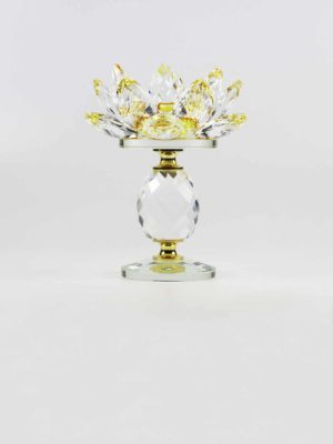 Yellow Crystal Lotus Candle Holder (Tall) 1