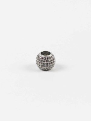 Silver Drum-shaped Bead with Diamonte 2