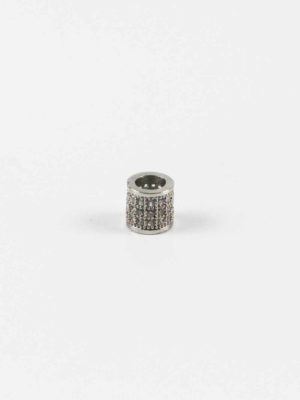 Stainless Steel Cylinder Bead with Diamonte 2