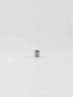 Stainless Steel Cylinder Bead with Rectangular Diamonte 1