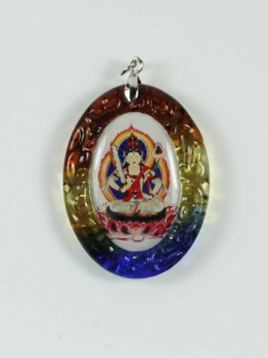 Akasagarbha Buddha Colour-glazed Glass Pendant 1