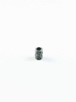 Alloy Cylinder Bead with Diamonte 2