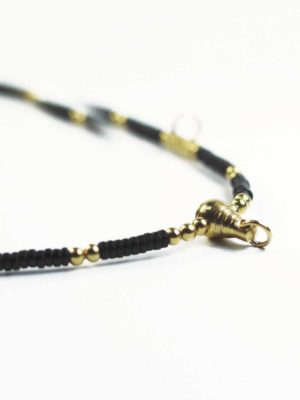 Coconut Shell Five + One Hooks Amulet Necklace with Gold Beads (71cm) 2