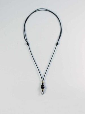 Adjustable Black Nylon String One Hook Amulet Necklace with Black Calabash 1