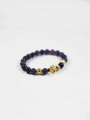 Amethyst Bracelet with Gold-plated Pixiu 2
