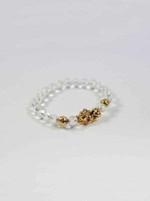 Clear Quartz Bracelet with Gold-plated Pixiu 2