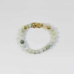 Jade Bracelet with Gold-plated Pixiu 1