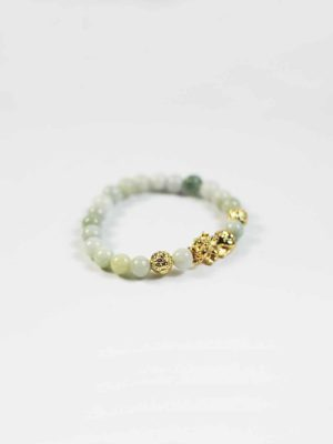 Jade Bracelet with Gold-plated Pixiu 2