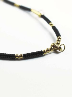 Coconut Shell Three + One Hooks Amulet Necklace with Gold Beads (66cm) 2